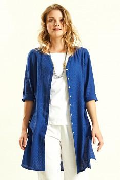 GLADE dámská propínací tunika ze tkané bavlny - modrá marine