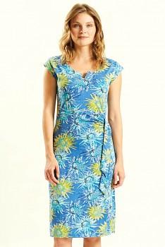 DAHLIA dámské letní šaty ze 100% biobavlny - modrá cornflower