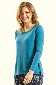 FINE dámský svetr ze 100% biobavlny - modrá lagoon