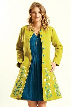 NEHRU dámský letní kabátek - žlutá avocado