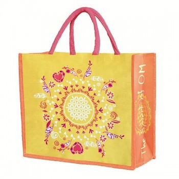 HAPPY velká jutová taška - žlutá
