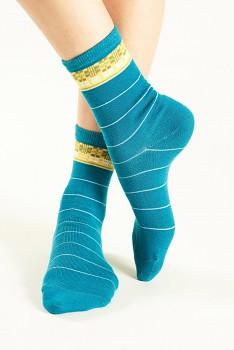 CHECK Dámské ponožky z biobavlny - modrá cornflower