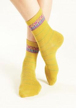 CHECK Dámské ponožky z biobavlny - žlutá avocado