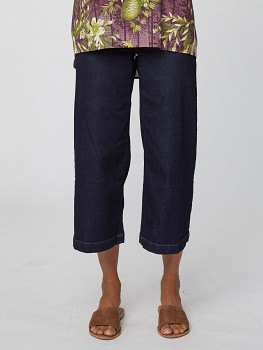 KOCO dámské 7/8 kalhoty z biobavlny - modrá denim