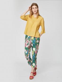 LEOLANI dámské kalhoty z tencelu biobavlny - zelená eukalyptus
