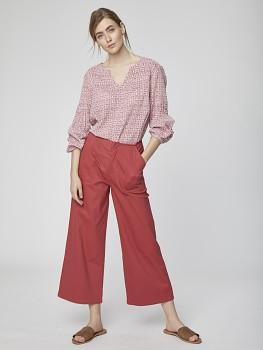 OSVALDO dámské kalhoty cullotes z biobavlny - červená ibišková