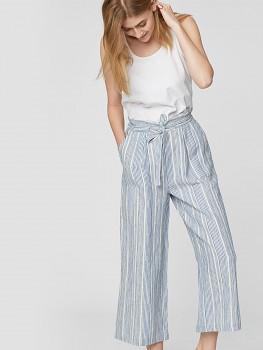LUIS dámské kalhoty cullotes ze 100% konopí - světle modrý proužek