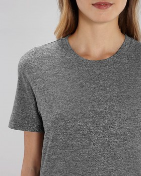 CREATOR Unisex tričko s krátkým rukávem ze 100% biobavlny - šedá marble slub herather black