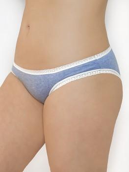 LACE dámské kalhotky z biobavlny s krajkou - světle modrá jeans blue
