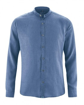 BAND pánská košile ze 100% konopí - modrá blueberry