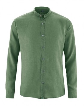 BAND pánská košile ze 100% konopí - zelená herb