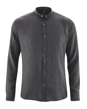 BAND pánská košile ze 100% konopí - šedá antracit