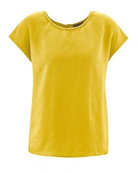 SPITZ dámský top s krátkými rukávy ze 100% konopí - žlutá curry