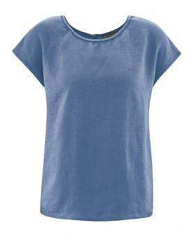SPITZ dámský top s krátkými rukávy ze 100% konopí - modrá blueberry