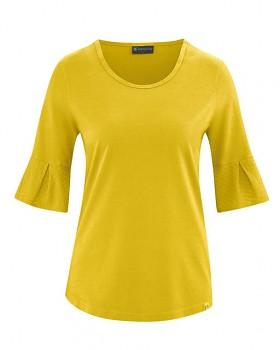 BELL dámský top s krátkými rukávy z biobavlny a konopí - žlutá curry