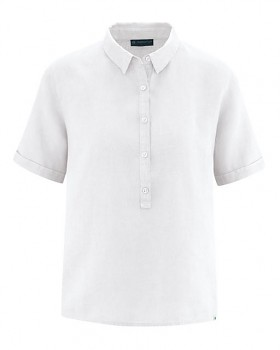PEARL dámská polokošile s krátkými rukávy ze 100% konopí - bílá