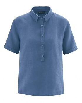 PEARL dámská polokošile s krátkými rukávy ze 100% konopí - modrá blueberry