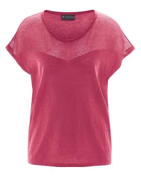NETZ dámský pletený top s krátkými rukávy z biobavlny a konopí - červená sangria