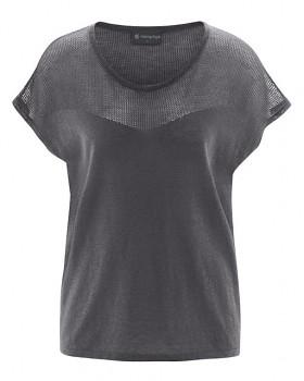NETZ dámský pletený top s krátkými rukávy z biobavlny a konopí - tmavě šedá antracit