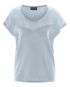 NETZ dámský pletený top s krátkými rukávy z biobavlny a konopí - světle šedá platinová