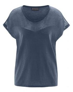 NETZ dámský pletený top s krátkými rukávy z biobavlny a konopí - tmavě modrá wintersky