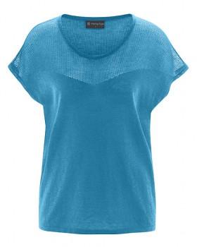 NETZ dámský pletený top s krátkými rukávy z biobavlny a konopí - modrá atlantic