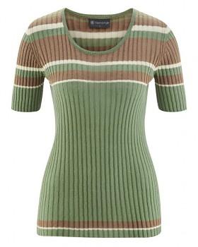 KNIT dámský pletený top s krátkými rukávy z biobavlny a konopí - zelená cactus