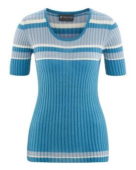 KNIT dámský pletený top s krátkými rukávy z biobavlny a konopí - modrá atlantic
