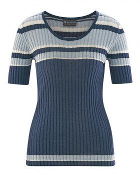 KNIT dámský pletený top s krátkými rukávy z biobavlny a konopí - modrá wintersky