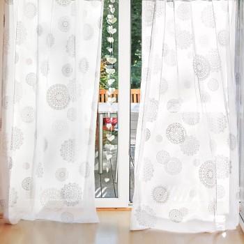 RAMI záclona ze 100% biobavlny s růženínem - stříbrný potisk - 245 x 145 cm