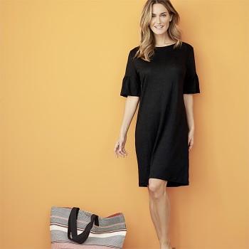 GIOVANNA Dámské šaty ze 100% bio lnu - černá