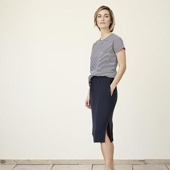 GORGIA Dámská sukně ze 100% bio lnu - tmavě modrá ink