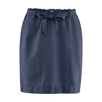 GRACE Dámská sukně z bio lnu a bio bavlny - tmavě modrá ink