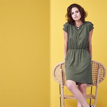 EMMA Dámské šaty ze 100% bio lnu - zelená khaki