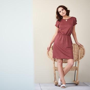 EMMA Dámské šaty ze 100% bio lnu - červená rosso