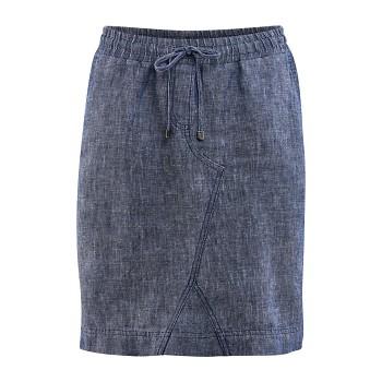 ELECTRA Dámská sukně ze 100% bio lnu - modrá indigo
