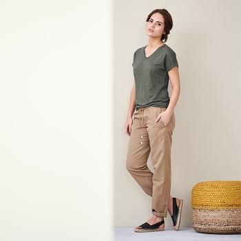 AVA Dámský top s krátkými rukávy ze 100% bio lnu - khaki