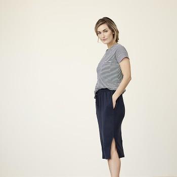 GERALDINE Dámské tričko s krátkými rukávy ze 100% biobavlny - modrý proužek