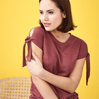 ELIZABETH Dámský top s krátkými rukávy ze 100% bio lnu - červená rosso