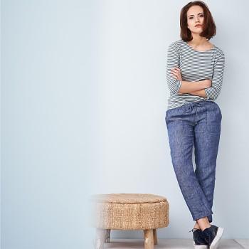 ESTHER dámské 7/8 kalhoty ze 100% bio lnu - modrá indigo