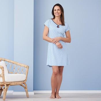 GLORIA Dámská noční košile ze 100% biobavlny - světle modrá