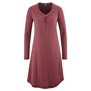 DIANA Dámská noční košile s dlouhými rukávy ze 100% biobavlny - červená barolo proužek