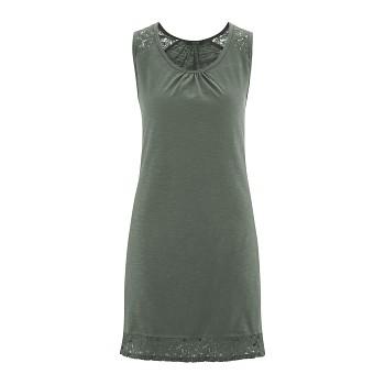ESMERALDA Dámská noční košile bez rukávů ze 100% biobavlny - zelená reed