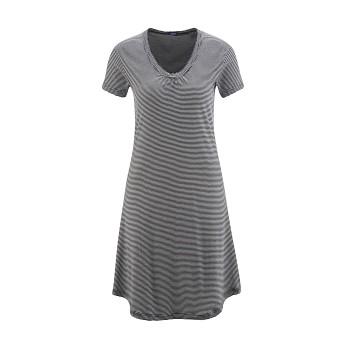 ARIANA Dámská noční košile s krátkými rukávy ze 100% biobavlny - černý proužek