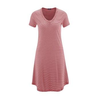ARIANA Dámská noční košile s krátkými rukávy ze 100% biobavlny - červený proužek