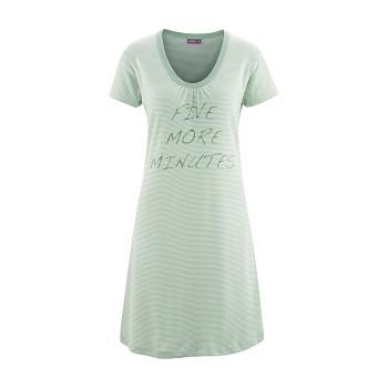 ARIANA Dámská noční košile s krátkými rukávy ze 100% biobavlny - zelený proužek