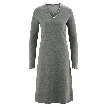 FEE Dámská noční košile s dlouhými rukávy ze 100% biobavlny - šedá