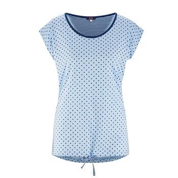 GINA dámský pyžamový top ze 100% biobavlny - světle modrá