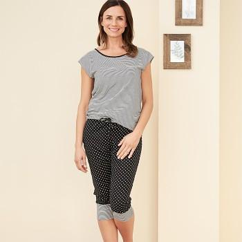 ELENA dámské pyžamové 3/4 kalhoty ze 100% biobavlny - černá