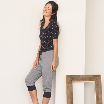 ELENA dámské pyžamové 3/4 kalhoty ze 100% biobavlny - tmavě modrá navy